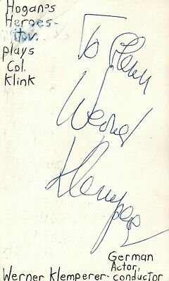 Werner Klemperer German Actor Hogan's Heroes TV Show Signed Index Card JSA COA