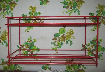 Vintage Red Metal Kitchen Bathroom Wall Mount or Counter top two tier Shelf MCM