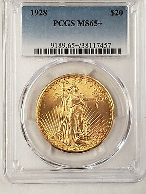 1928 $20 Gold Saint Gaudens PCGS MS65+ Choice Graded Gold Double Eagle Coin