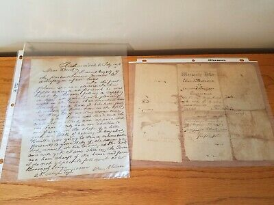 Vintage Old Letters 1800's Correspondence Collection Lot Deed
