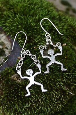 Small Sterling Silver Strong Men Earrings Lifting Weights ? Mexican Folk Art