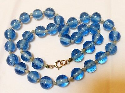 CHINESE VINTAGE BLUE PEKING GLASS BEADS NECKLACE, Sterling CLASP