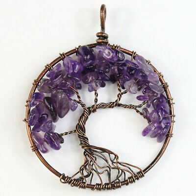 Amethyst Chips Beads Gemstones Tree of Life Reiki Chakra Copper Round Pendant