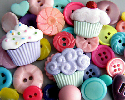 Vintage Lot Theme Buttons BIRTHDAY CONFETTI Novelty Pink Blue Green Yellow ++