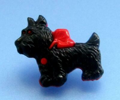 Vintage Realistic Plastic Scottie Dog Snap Together Button Red Black Terrier