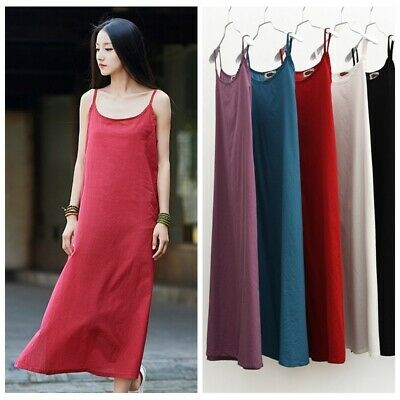 Lady Linen Cotton Full Slip Dress Strappy Petticoat Chemise Nightie Solid Casual