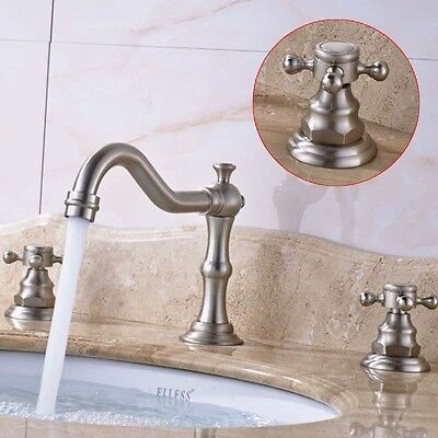Widespread Vintage Brass Bathroom Faucet 3Holes 2Handle Bathroom Sink Faucet US