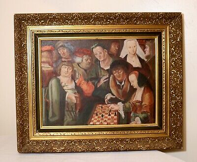 antique original German game of chess figural oil painting on canvas Folk Art