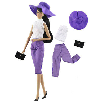 """Purple Fashion Doll Clothes Set For 11.5"""" Doll Outfits Hat Top Shorts Bag 1/6"""