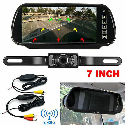 """7"""" Car Rear View Mirror Monitor with NightVision Backup Camera Wireless System"""