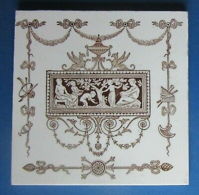 6-inch Victorian circa 1880 WEDGWOOD  Brown Transfer ceramic tile