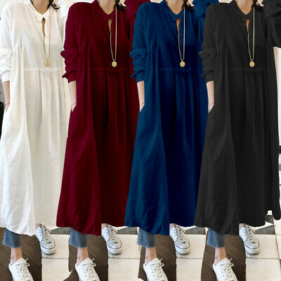 Women's Full sleeve Loose Baggy Evening Party Long Shirt Dress Maxi with Pockets