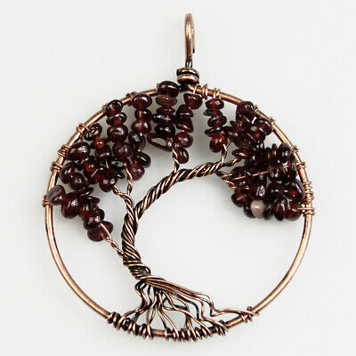 Garnet Chips Beads Gemstones Tree of Life Chakra Copper Round Pendant