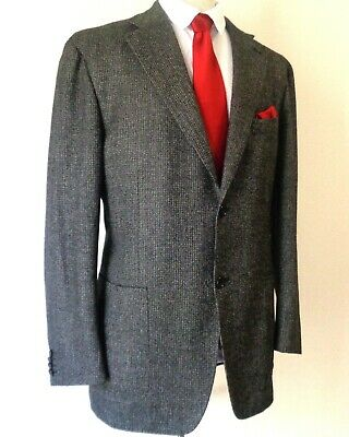 Canali Kei Collection Cashmere & Wool Mens Sports Jacket Gray Size 45R