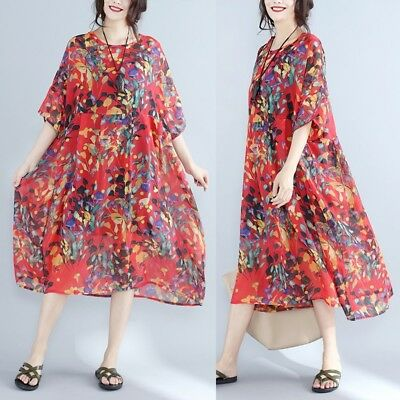 Womens Floral Chiffon Short Sleeve Loose Baggy Dress High Waist Pregnant Tunic
