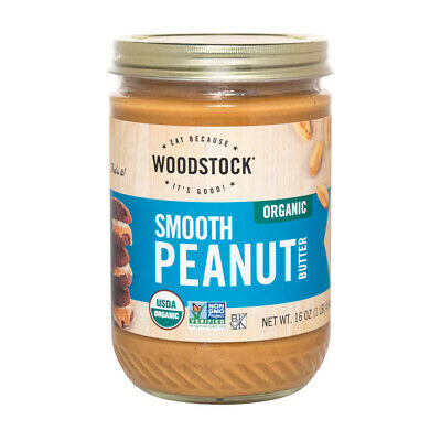Woodstock Organic Peanut Butter - Smooth - Case of 12 - 16 oz.