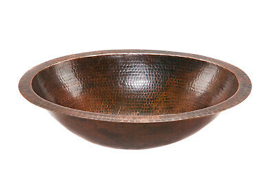Premier Copper Products - Oval Under Counter Hammered Copper Bathroom Sink