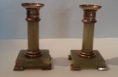 Pair of Candle Holders 19th Brass and Onyx Antique French Candlestick