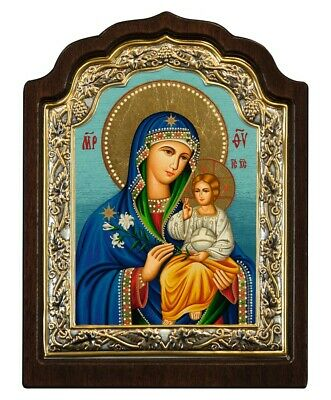 Byzantine Orthodox Icon Virgin Mary and Child 6.2X4.3 inch. Silver Frame on Wood