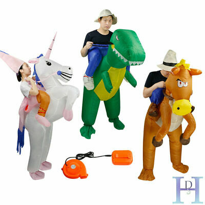 UK Inflatable Unicorn Horse Dinosaur Adult Fancy Dress Hen Stag Blow Up Costume