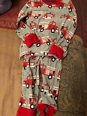 M&s Boys Pjs Grey With Red Fire Engines 18 Months-2yrs
