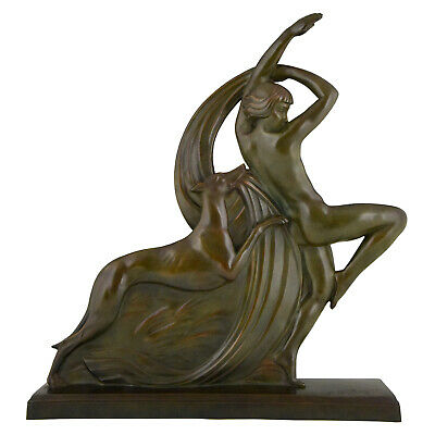 Art Deco bronze sculpture dancing nude with borzoi dog AR Philippe France 1930