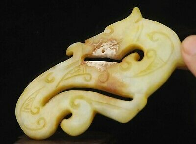 Chinese old natural jade hand-carved dragon pendant 4.3 inch