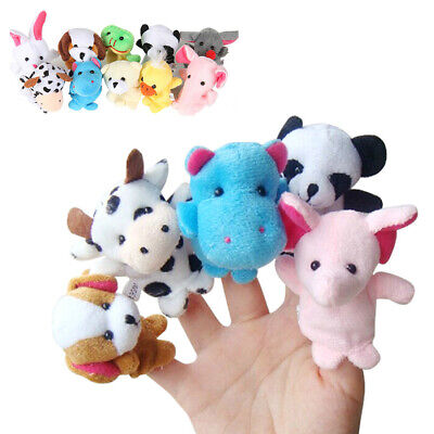 10x Family Finger Puppets Cloth Doll Baby Educational Hand Animals Toy HOT
