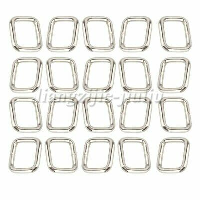 20PCS Metal Square Rings Webbing Buckles Adjusters Silver 2cm for Backpacks