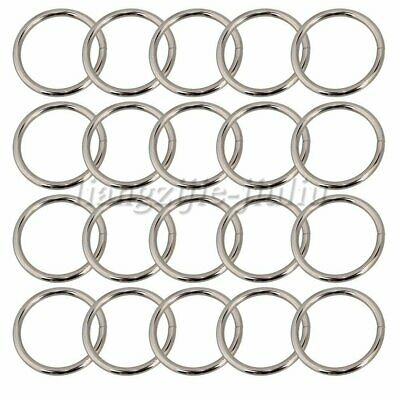 20PCS Metal Round Rings Webbing Buckles Adjusters Silver 3.8cm for Backpacks