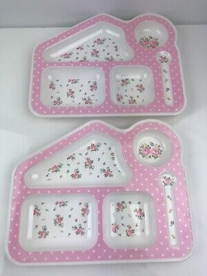 Cath Kidston Plate Girls Pink Floral Flower Print Compartments X 2 Gift