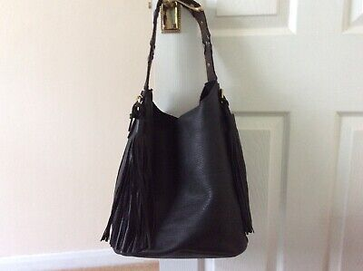 John Lewis and/or Black Leather Bucket Bag with Tassles