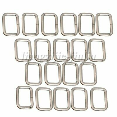 20PCS Metal Square Rings Webbing Buckles Adjusters Silver 2.5cm for Backpacks