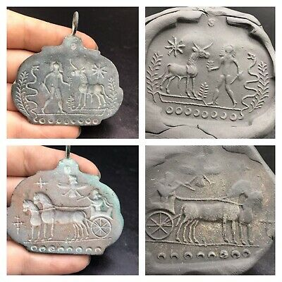 Very Old Bactrain History Craved Double Side Intaglio Stamp Pendent