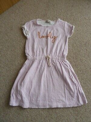 Next Girls 'Lovely' Dress - Soft Pink & Cream Stripe with Pockets Age 7 Years