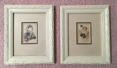 Pair Of Shabby Chic Paintings With Hand Embroidered Embellishments