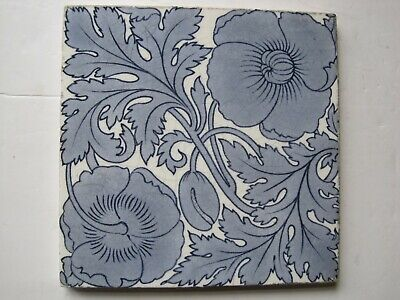 "ANTIQUE VICTORIAN 6"" MINTONS BLUE POPPIES TRANSFER PRINT WALL TILE c1868-1900"