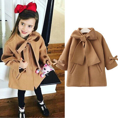 AU Toddler Baby Kid Girl Winter Clothes Bowknot Coat Top Princess Formal Outfits