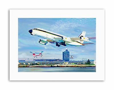 AIRPORT NEW YORK PLANE HELICOPTER RUNWAY USA Poster Painting Sport Canvas art