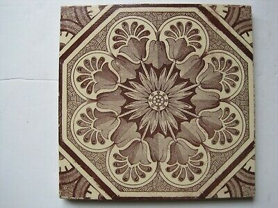 "ANTIQUE VICTORIAN 6"" CRAVEN DUNNILL BROWN TRANSFER PRINT WALL TILE c1880 -1910"