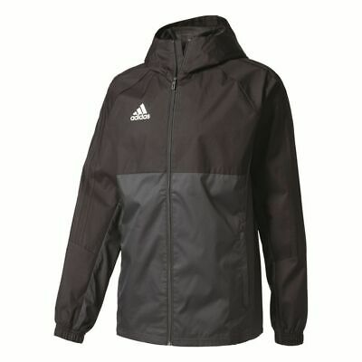 Adidas Mens Football Tiro17 Full Zip Rain Jacket Top Training Waterproof Black