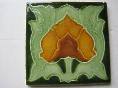 ANTIQUE MOULDED & MAJOLICA GLAZED ART NOUVEAU TILE - CORN BROS - c1905/07