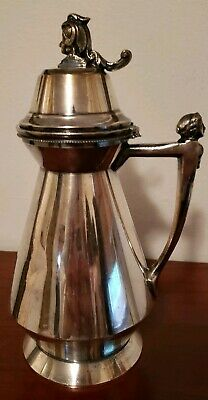 Antique Meriden Silverplated Syrup~Pitcher~Creamer with Figural Head Late 1800's