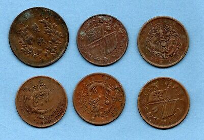 6 Old Chinese Copper Coins. Various Ages And Conditions. China. Job Lot.