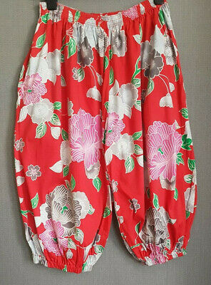 Vintage 80s Kenzo short harem trousers pure cotton red Japanese floral Size M