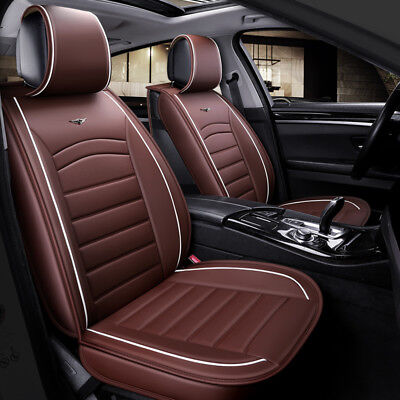 Brown PU Leather Front Seat Covers Padded For VW Polo Golf Passat Touareg