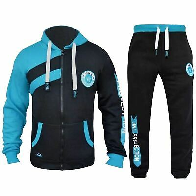 Kids Boys Girls HNL Black Tracksuit Zipped Top & Bottom Jogging Suit 7-13 Years