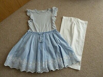Girls Next Summer Blue & White Dress Outfit - Lined skirt & Leggings Age 8 Years