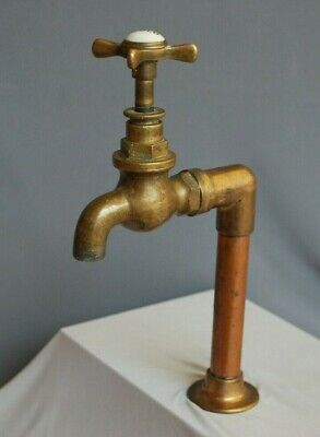 Brass Belfast Sink Tap, Single Cold Water Brass Kitchen Tap, In Original Patina