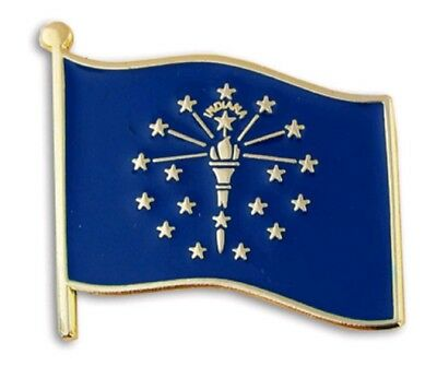 USA Indiana State Flag Enamel Lapel Pin (Brand New with Tags)